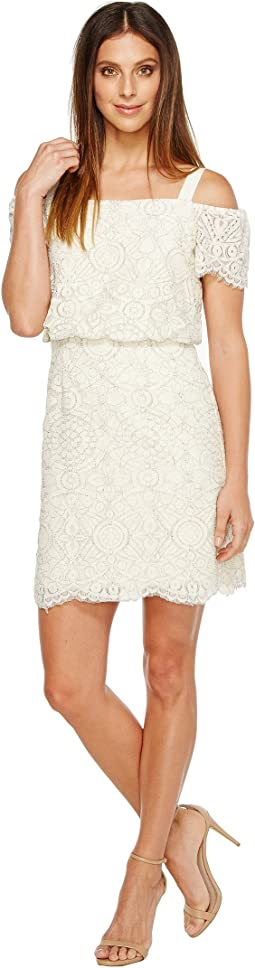 Adrianna Papell - Ella Mosaic Lace Off the Shoulder Sheath Dress with Blouson Bodice