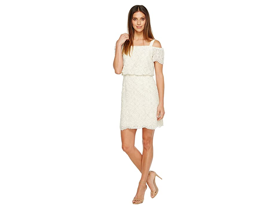 Adrianna Papell Ella Mosaic Lace Off the Shoulder Sheath Dress with Blouson Bodice (Ivory) Women