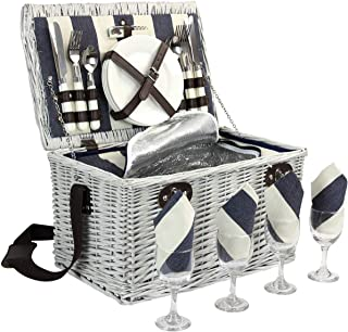 Picnic Basket for 4, Willow Hamper Set with Insulated Compartment, Handmade Large Wicker Picnic Basket Set with Utensils Cutlery - Perfect for Picnicking, Camping, or any Other Outdoor Event