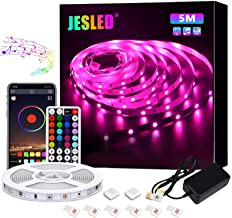 LED strip, JESLED 5m RGB 5050 LED-strip kleurverandering, LED-strips strips met bluetooth-controller synchroniseren met mu...