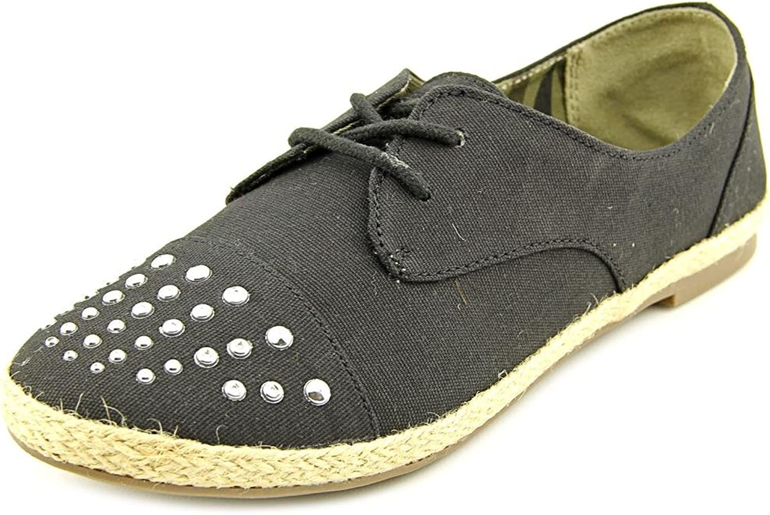 Material Girl Button Womens US Size 7.5 Black Textile Oxfords shoes