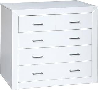 Dogar Kynus Lacado - Comoda con 4 cajones 80.1 x 93.2 x 38.3 cm madera color blanco