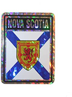 NOVA SCOTIA - Canada' Provincial Flag .. SQUARE Metallic Bumper Sticker Decal .. Size : 4