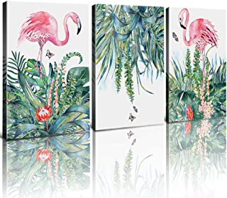 Flamingo Wall Art Pink Flamingos Wall Decor Canvas Print Paintings Pictures Green Leaves Tropical Plants Framed Stretched Ready to Hang Girls Living Room Bedroom Decoration Set 3 Piece 12x16 inch