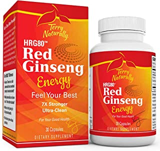 Terry Naturally HRG80 Red Ginseng Energy – 30 Capsules – Energy Support Supplement – Korean Red Ginseng Root Powder, Panax...
