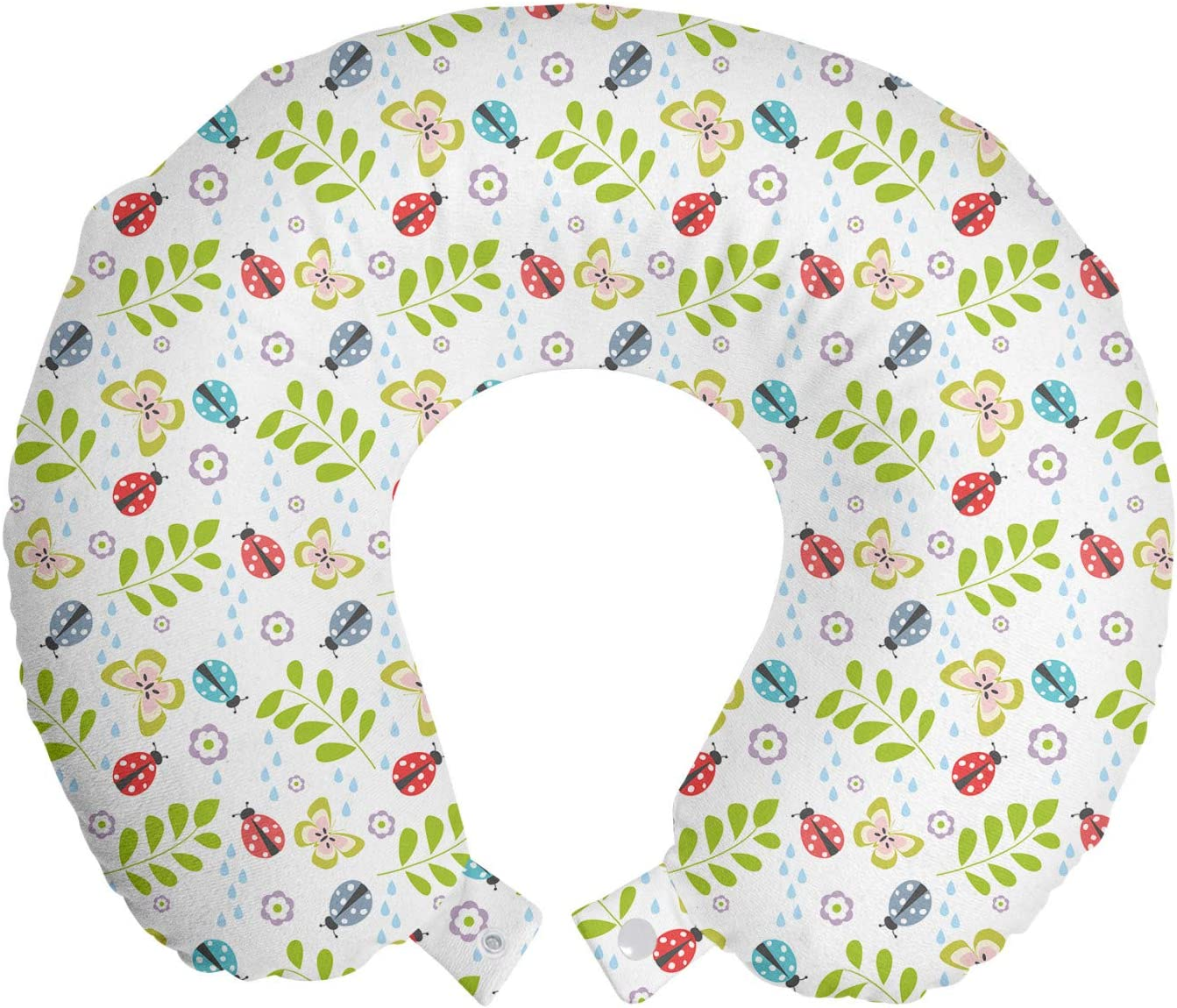 Ambesonne Ladybug Travel Pillow Neck Garden Spring new work one after another Them Rest Botanical Quantity limited