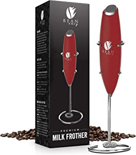 Bean Envy Milk Frother Handheld, Perfect For The Best Latte - Whip Foamer - Includes Stainless Steel Stand - Red