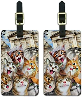 Cats Selfie at London Palace England Britain Luggage ID Tags Cards Set of 2