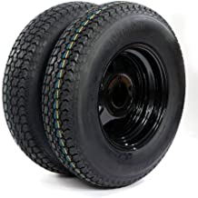 """13"""" Trailer Wheel & Tire with Bias ST175/80D13 Tire Mounted (5x4.5 bolt circle) Black Spoke, Set of 2"""