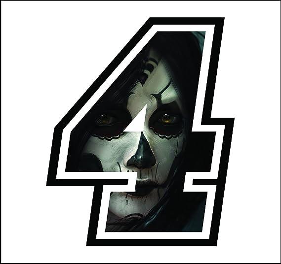 Aufkleber Zahl Anzanl Number 4 Rennen 12 Cm Zentimetern Frau Totenkopf Woman Skull Cross Spur Auto Moto Stickers Auto
