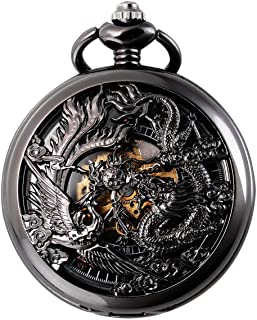 SIBOSUN Mechanical Pocket Watches Mens, Lucky Phoenix and Dragon, Skeleton Pocket Watch, Antique Roman Numerals Box