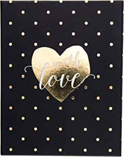 Graphique Love Polka Dots Assorted Boxed Notecards, 20 Embellished Gold Foil Heart Cards on Coated Cardstock, with 4 Designs, Matching Envelopes and Storage Box, 4.25