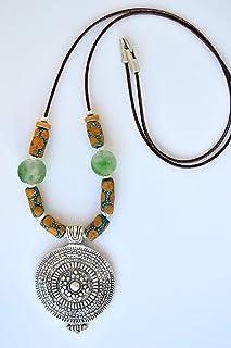 Collar étnico largo de cuero para mujer, joyería original y moderna