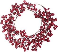 KESYOO Red Berry Garland Artificial Burgundy Berry Decorations Spring Autumn Wreath Christmas Porch Garland Hanging Orname...