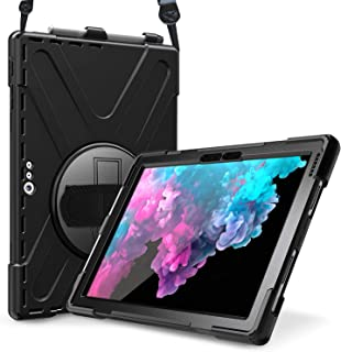 ProCase Surface Pro 7 / Pro 6 / Surface Pro 5 / Pro 4 / Pro LTE Case, Full Body Hybrid Protective Case, 360 Degree Rotatable Heavy-Duty Cover with Hand Strap, Shoulder Belt and Kickstand -Black