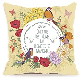 Home Decor Cotton Linen ONLY THE BEST MOMS GET PROMOTED TO GRANDMA Sofa Throw Pillow Case Cushion Cover 18 x 18 Inch,Mother's Day Gifts,Mom Gifts,Mother Birthday Gifts