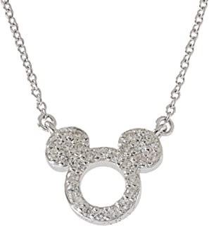Women's and Girls Jewelry Mickey or Minnie Mouse Sterling Silver Cubic Zirconia Pendant,18