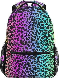 Mochila de viaje con diseño de leopardo de arco iris