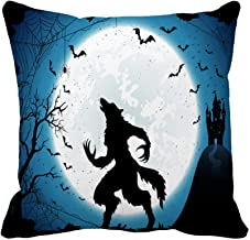 Awowee Throw Pillow Cover Dark Halloween Moon on Blue Sky Castle and Werewolf 20x20 Inches Pillowcase Home Decorative Square Pillow Case Cushion Cover