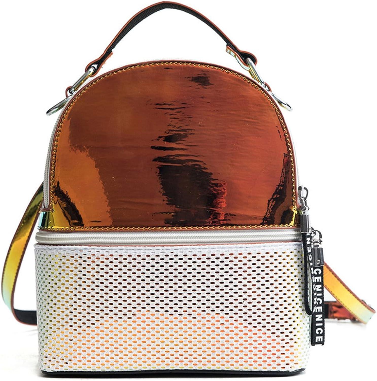 Allenshopping Women Backpack Hologram PVC School Bag Laser Transparent Backpack