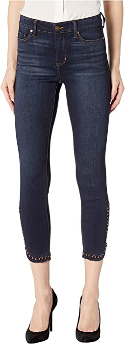 Abby Ankle Zip Scallop Studs in Super Soft Stretch Denim Jeans in Mckinley