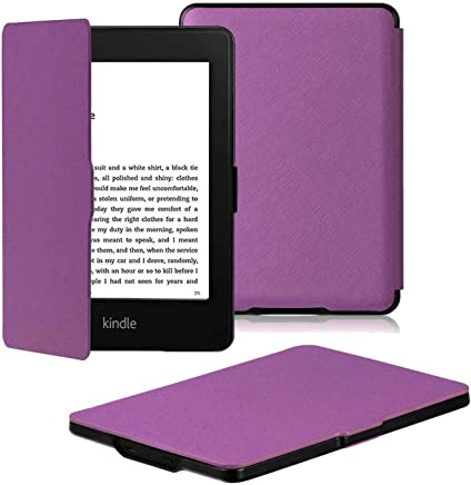 Amazon Kindle Paperwhite Case is the lightest and most advanced leather smart case for all versions before 2017 (not for all Paperwhite 10th generation 2018), Kindle with purple wake/sleep function (purple)