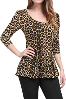 020d4e29acc816 Allegra K Women's Long Sleeves Scoop Neck Leopard Prints Peplum Shirt Top