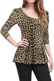 Allegra K Women's Long Sleeves Scoop Neck Leopard Prints Peplum Shirt