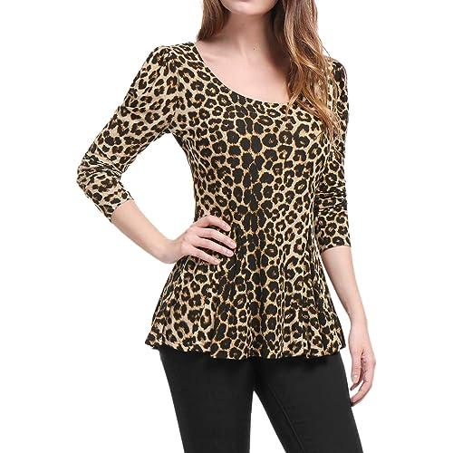 f131d259d Allegra K Women's Long Sleeves Scoop Neck Leopard Prints Peplum Shirt