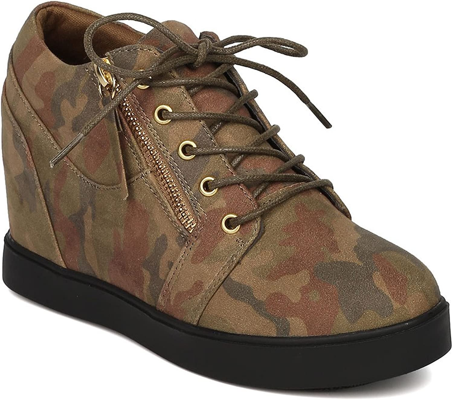 Liliana Women Faux Suede Camouflage Lace Up Side Zip Hidden Wedge Sneaker GD90