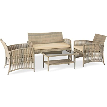 Brown Wicker Sectional Sofas Aclumsy 4-Piece Modular Outdoor Conversational Furniture Set