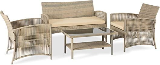 Aclumsy 4 Piece Patio Conversation Set Wicker Patio Furniture, Outdoor Rattan Bistro Set for Terraces Poolsides and Cafes,...
