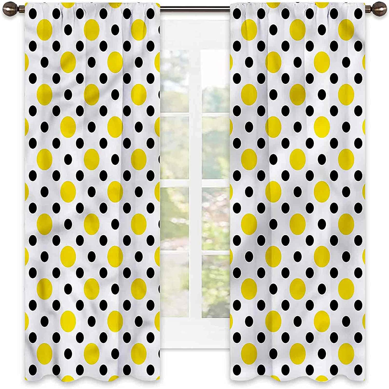 Polka Dots Bedroom Rod Pocket Blackout Sequen Cheap mail order shopping Curtains half Diagonal