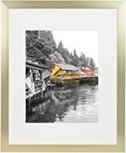 Golden State Art, Gold Color Satin Aluminum Landscape Or Portrait Picture Frame with Ivory Color Mat & Real Glass (16x20)