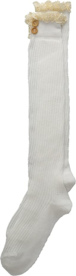 Lace & Buttons Knee High Socks (Toddler/Big Kid/Adult)