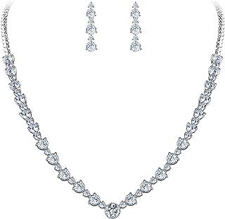 EVER FAITH Wedding Silver-Tone Clear Zircon CZ Flower Circle Necklace Earrings Set
