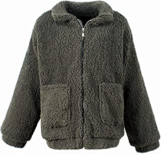 Yeenvan Wool Coat Women Thicken Warm Zipper Short Casual Coat Solid Turn Down Collar Hairy Jacket