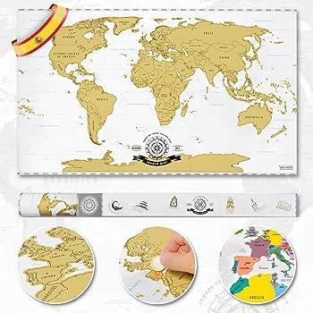 Goods & Gadgets Scrape Off World Map XXL - Mapa del Mundo para ...