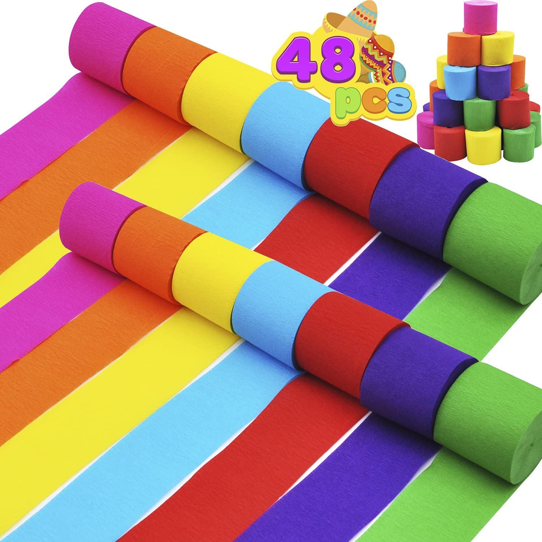 JOYIN 48 Rolls Crepe Paper Streamers 768 Yards 7 Colors for Wedd