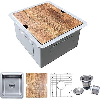 Zeek 15 x 17 Undermount 16G Stainless Steel Bar Prep Sink Workstation Set RV Sink or Small Kitchen Sink Single Bowl ZH-1517