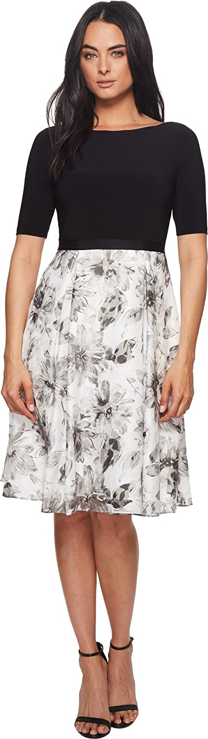Adrianna Papell Womens Jersey and Printed Burnout Dress