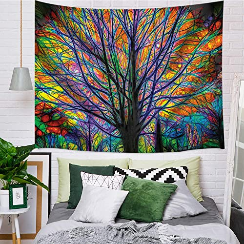 a20552cc65c2 Creative Watercolor Colourful Life Tree Tapestry Wall Art Hanging for  Bedroom Living Room Dorm 71 X