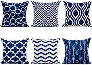 doublesmt Throw Pillow Covers 6 Pack Classical Geometric Wave Cushion Pillowcases Decorative Pillowcases for Home Couch So...