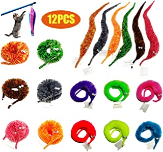 SHENGSEN 12 Pieces Magic Worms Toys Wiggly Worms Twisty Fuzzy Worm Toys Magic Pet for Carnival Party Favors (12 Colors)