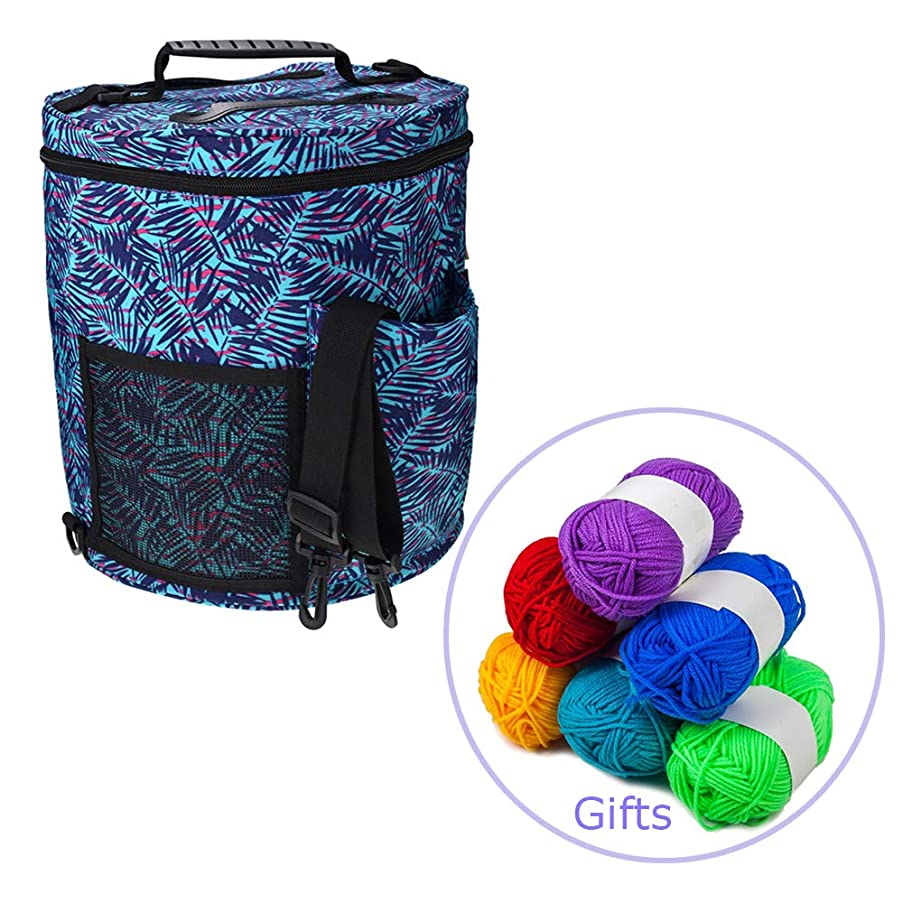 LNKA Knitting Bag for Yarn Storage,Crochet Hooks, Needles and Woolfor Accessories and Slits on Top to Protect Yarn and Prevent Tangling (Free 6 Pack Cotton Mini Yarn) (Big Size+6 Pack Yarn)