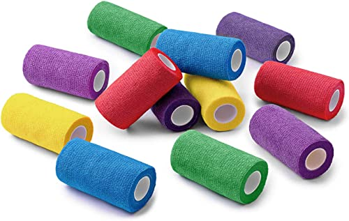 WePet Vet Wrap, Vet Tape Bulk Self-Adherent Gauze Rolls Non-Woven Cohesive Bandage First Aid for Dogs Cats Horses Bir...