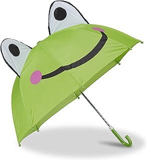 Relaxdays Relaxdays Kinderregenschirm mit 3D Frosch, Regenschirm für Mädchen und Jungen, kleiner Stockschirm, grün