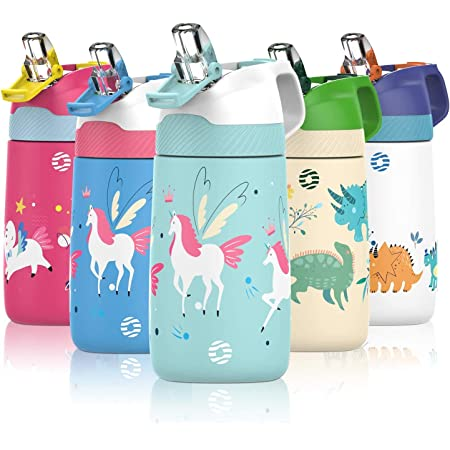 FJbottle 18/10 Stainless Steel Vacuum Double Insulated Kids Drinks Bottles with Straw, 350ml/400ml Bpa-Free Flask with dust lid, Reusable Leakproof Outdoor Flask for kids in school, sports, and travel
