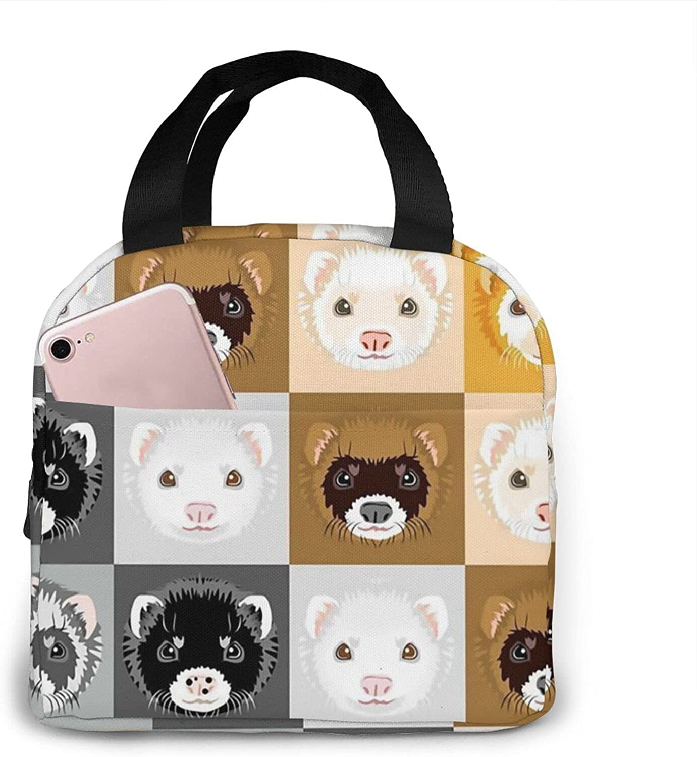 Free Shipping New Diagonal Ferret Seasonal Wrap Introduction Faces Stripe Lunch Box Tote Bag Thermal In