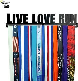 Visual Elite   Live Love Run   Medal Display Hanger   Hand-Forged Black Metal Hanger Design for Marathon, Running, Race, Etc.   The Medal Hangers Collection